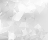 Abstract white and grey triangular & polygonal geometric background. - 215896461