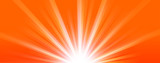 Abstract  summer background. Shiny hot sun lights horizontal banner illustration with red and orange vibrant color tones. - 215901239