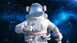 Astronaut in spacesuit showing thumbs up, cosmonaut floating in space, close up view, 3D rendering - 215901434