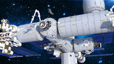 Astronauts working on space station, cosmonauts floating outside of spacecraft airlock, 3D rendering - 215901602