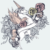 Beautiful T-shirt print vector design with unicorn and flowers - 215909864