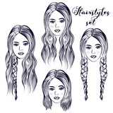 Fashion illustration with young woman, different hairstyles - 215911059