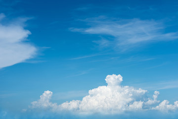 Beautiful blue sky with cloud formation background