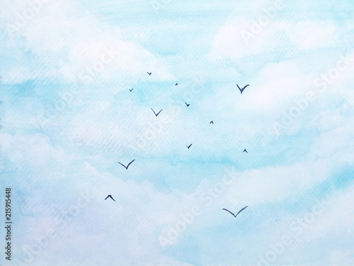 watercolor landscape birds flying in the blue sky with cloud.for background © atichat