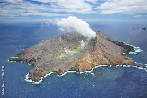 New Zealand. White Island because of the high activity of fumaroles looks like an erupting volcano.
