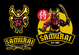 samurai ronin mascot hold pair of katana - 215920451