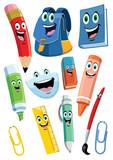 achool supplies cartoon character set