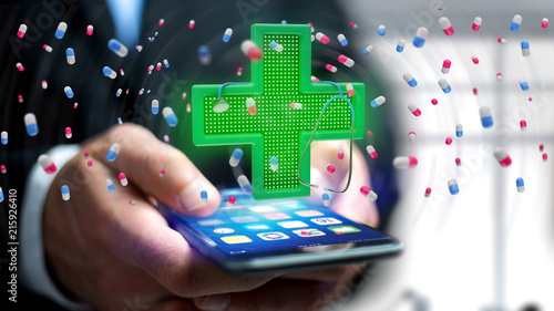 Foto Spatwand Apotheek Businessman using a smartphone with a Lighting pharmacy cross and a stethoscope - 3d render