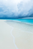 tropical Maldives island with white sandy beach and sea - 215928286