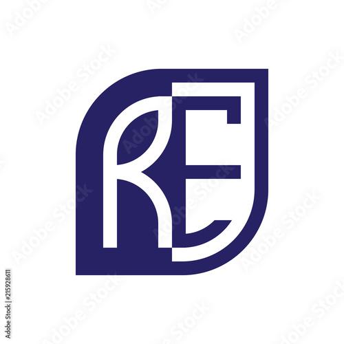 RE initial letter emblem logo negative space