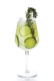 Rosemary Jin Tonic Cocktail with Cucumber and Ice Isolated - 215929024