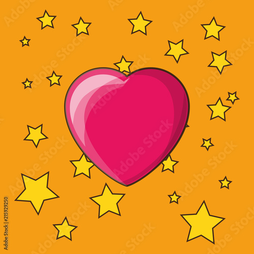 stars and heart over orange background, colorful design. vector illustration - 215929250