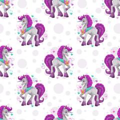 Seamless pattern with cute cartoon pretty fantasy unicorn © lilu330
