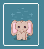 cute elephant icon over blue background, colorful design. vector illustration