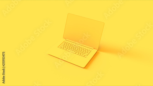 Yellow Laptop 3d illustration
