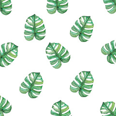 Watercolor pattern with tropical leaves isolated on white background.