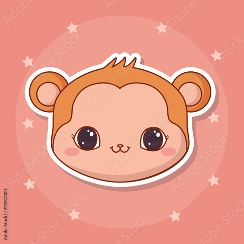 cute monkey icon over pink background, colorful design. vector illustration