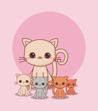 kawaii cat and little cats over pink background, colorful design. vector illustration