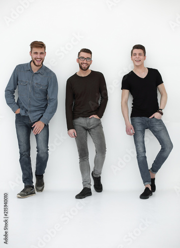Leinwanddruck Bild happy group of men laughing for the camera