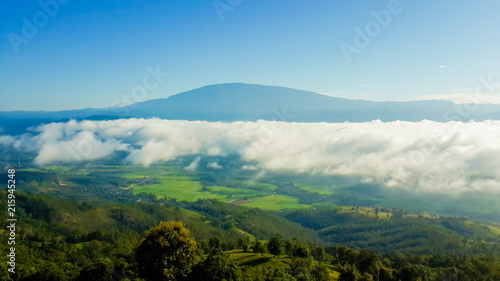 Canvas Blauw Panoramic View Of Agricultural Field Against Sky in Chiang Mai Thailand.