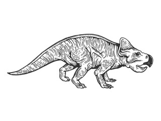 Protoceratops dinosaur engraving vector