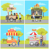 Pizza and Popcorn, Hot Dog and Coffee Carts Set