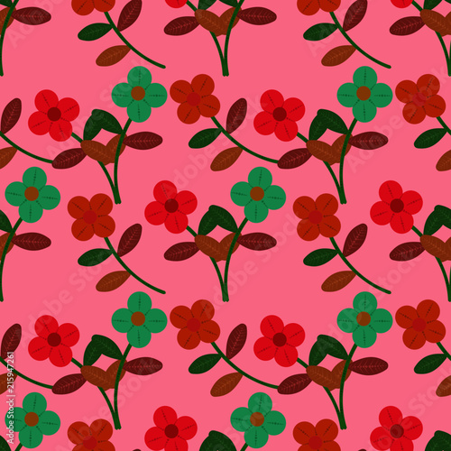 Seamless small floral tropical leaf autumn color Pattern in Vector hand drawn  modern design - 215947261