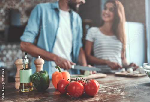 Romantic couple on kitchen - 215953015