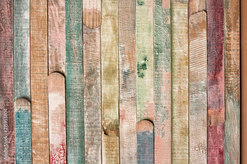 vintage and color background of wooden bars - 215953804