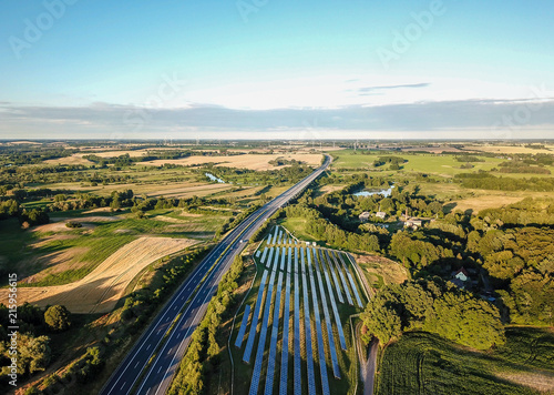 Fotobehang Pool aerial view of landscape near rostock - german autobahn and solar power plant