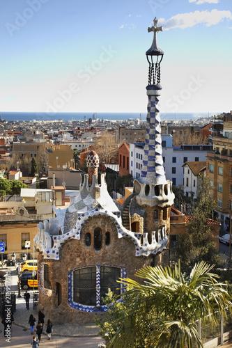 Wejście do Park Guell w Barcelonie. Hiszpania