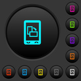 Change mobile display orientation dark push buttons with color icons - 215959293