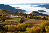 Autumn in the Rhodope Mountains, Bulgaria. Early morning. The mountain is covered with fog.