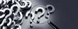 Lupe mit Berg von Fragezeichen - Suche - Suchfunktion - 215965879