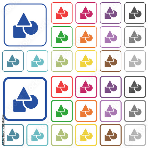 Basic geometric shapes outlined flat color icons