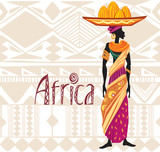 African woman in ethnic dress on ornament background