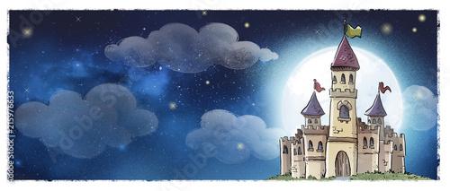 Leinwanddruck Bild castillo medieval de noche