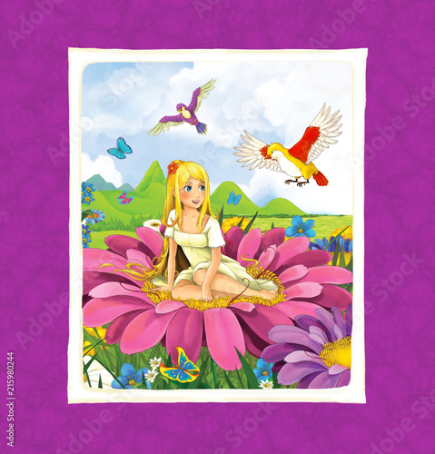 cartoon scene with young girl sitting on beautiful flower - illustration for children - 215980244