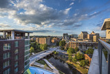 Aerial of the Downtown Greenville South Carolina SC Skyline