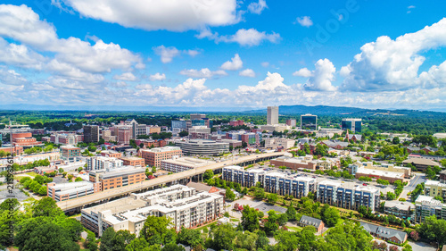 Drone Aerial of Downtown Greenville South Carolina SC Skyline - 215982612