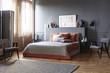Spacious grey retro bedroom interior