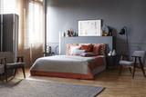 Spacious grey retro bedroom interior - 215985636