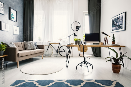 Leinwandbild Motiv Plant and wooden chair at desk in bright apartment interior with brown sofa and bike. Real photo