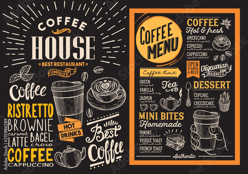 Wall mural Coffee restaurant menu. Vector drink flyer for bar and cafe. Design template on blackboard background with vintage hand-drawn food illustrations.