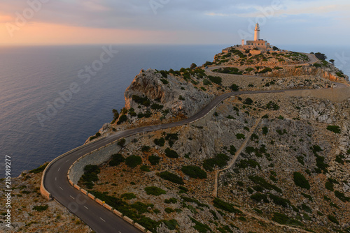 Canvas Vuurtoren Formentor Lighthouse at sunset, Majorca, Spain