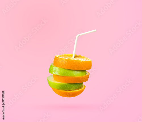 Canvas Sap ripple cut fruit juice with straw