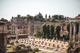 View over forum romanum in roma rom rome on a sunny day in summer for travel and sightseeing