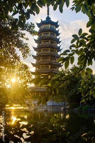Fotobehang Guilin Sunrise scene over the pagoda in Guilin, China