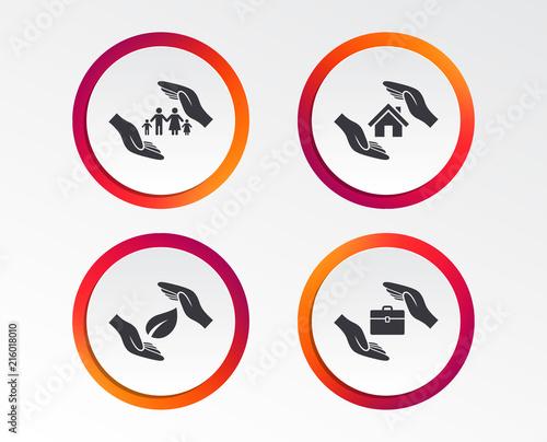 Hands Insurance Icons Human Life Insurance Symbols Nature Leaf