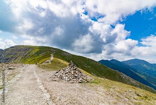 Stone piles on mountain trail